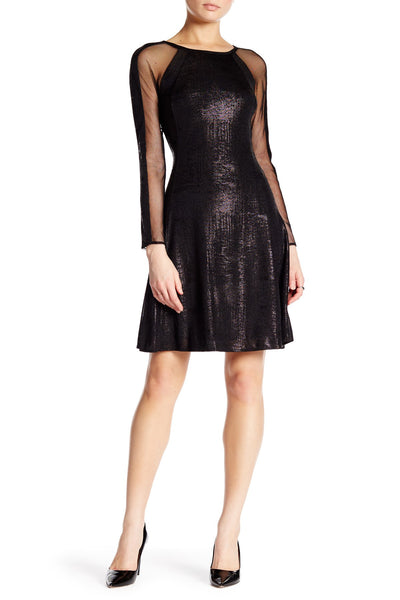 Julia Jordan Long Sleeve Shimmer Fit & Flare Dress