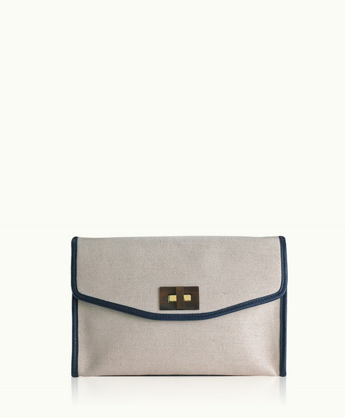 GiGi New York Nina Clutch  Canvas with Navy Pebble