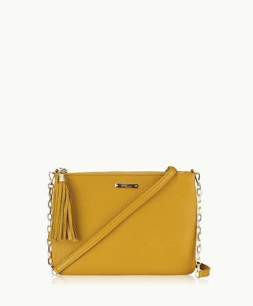 GiGi New York Chelsea Crossbody Marigold Pebble Grain Leather