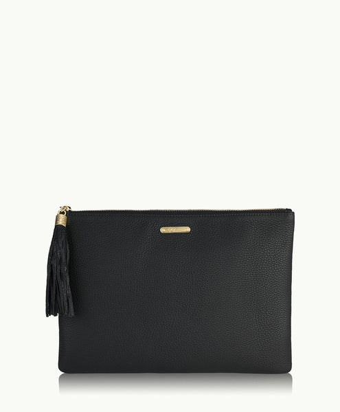 GiGi New York Uber Clutch Black Pebble Grain Leather