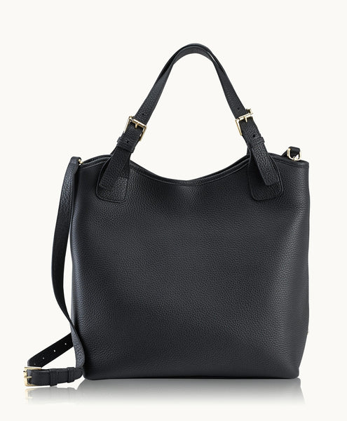 GiGi New York Olivia Shopper Black Pebble Grain Leather