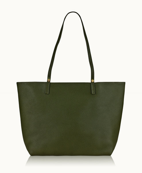 GiGi New York Tori Tote Moss Pebble Grain Leather