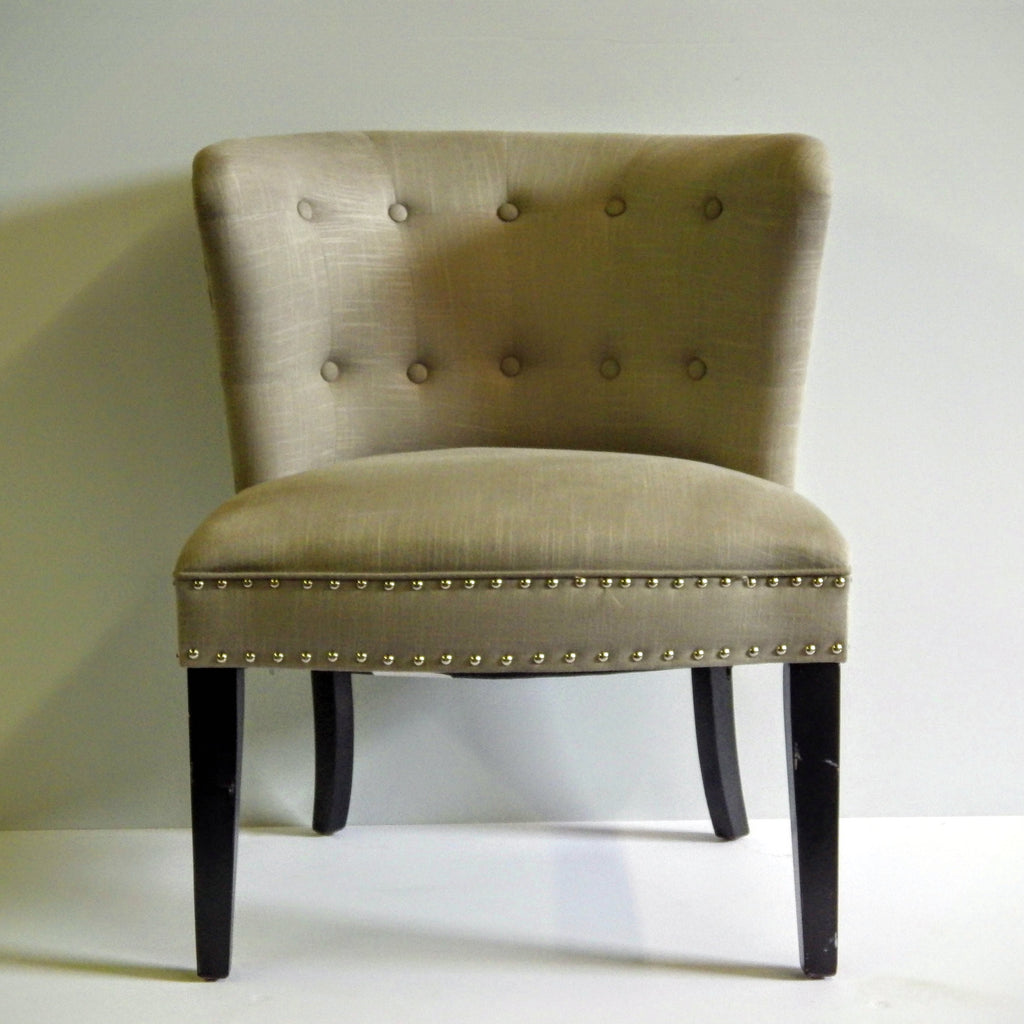 Grey Cloth Studded Chair