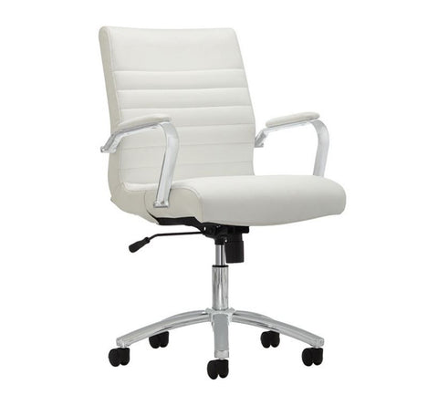 Modern White Leather Mid-Back Office Chair