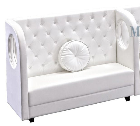 Modern White Leather Banquette Sofa