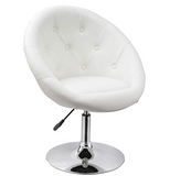 Modern Swivel Chair - White Leather