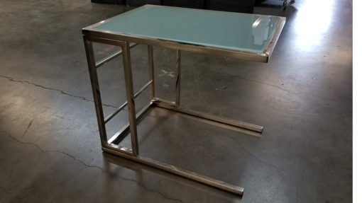 Silver and Frosted Glass End Table
