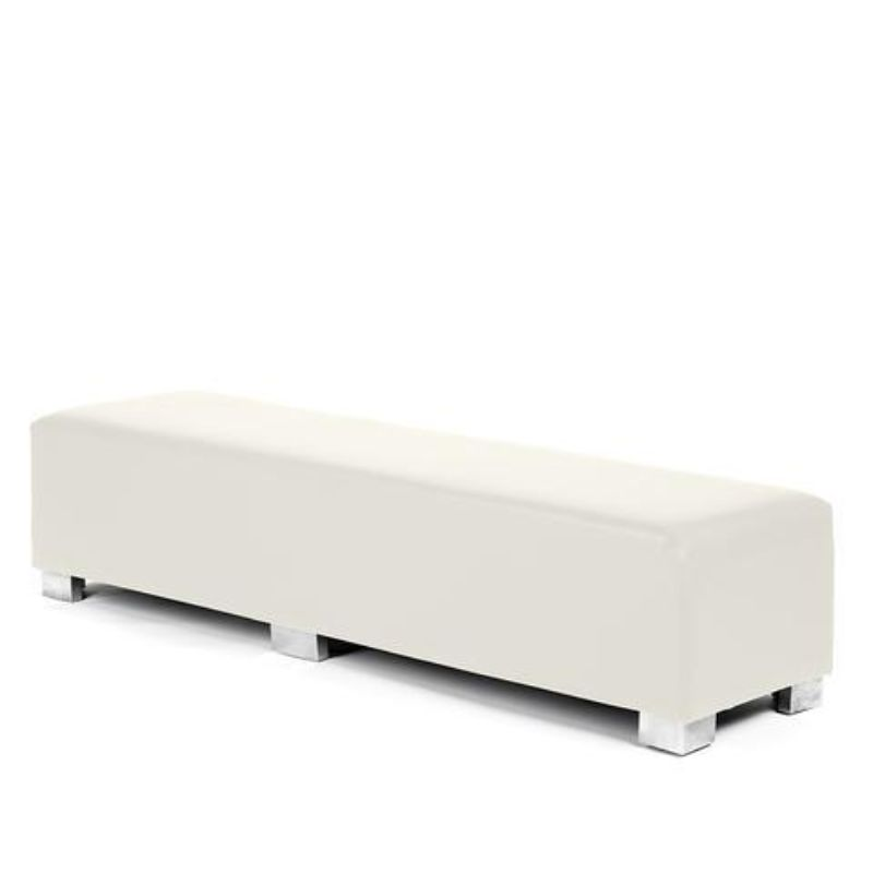 Modern White Leather Bench or Ottoman