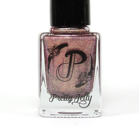 Pretty Jelly Brocade, holographic purple fall nail polish, gold shimmer, indie nail lacquer, vegan cosmetics