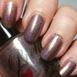 Holographic nail polish, fall nail lacquer, handmade gift for her, purple nail color