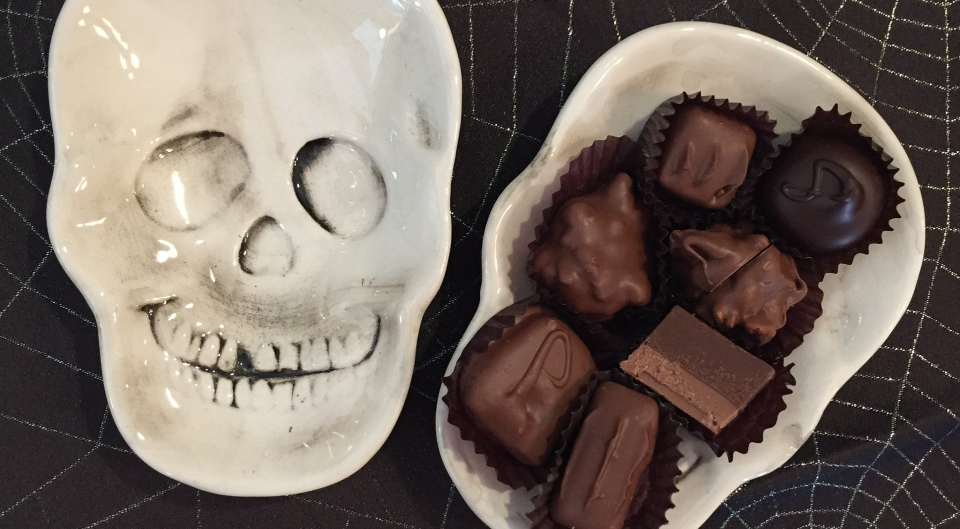 Skull Candy Dish with Assorted Chocolates