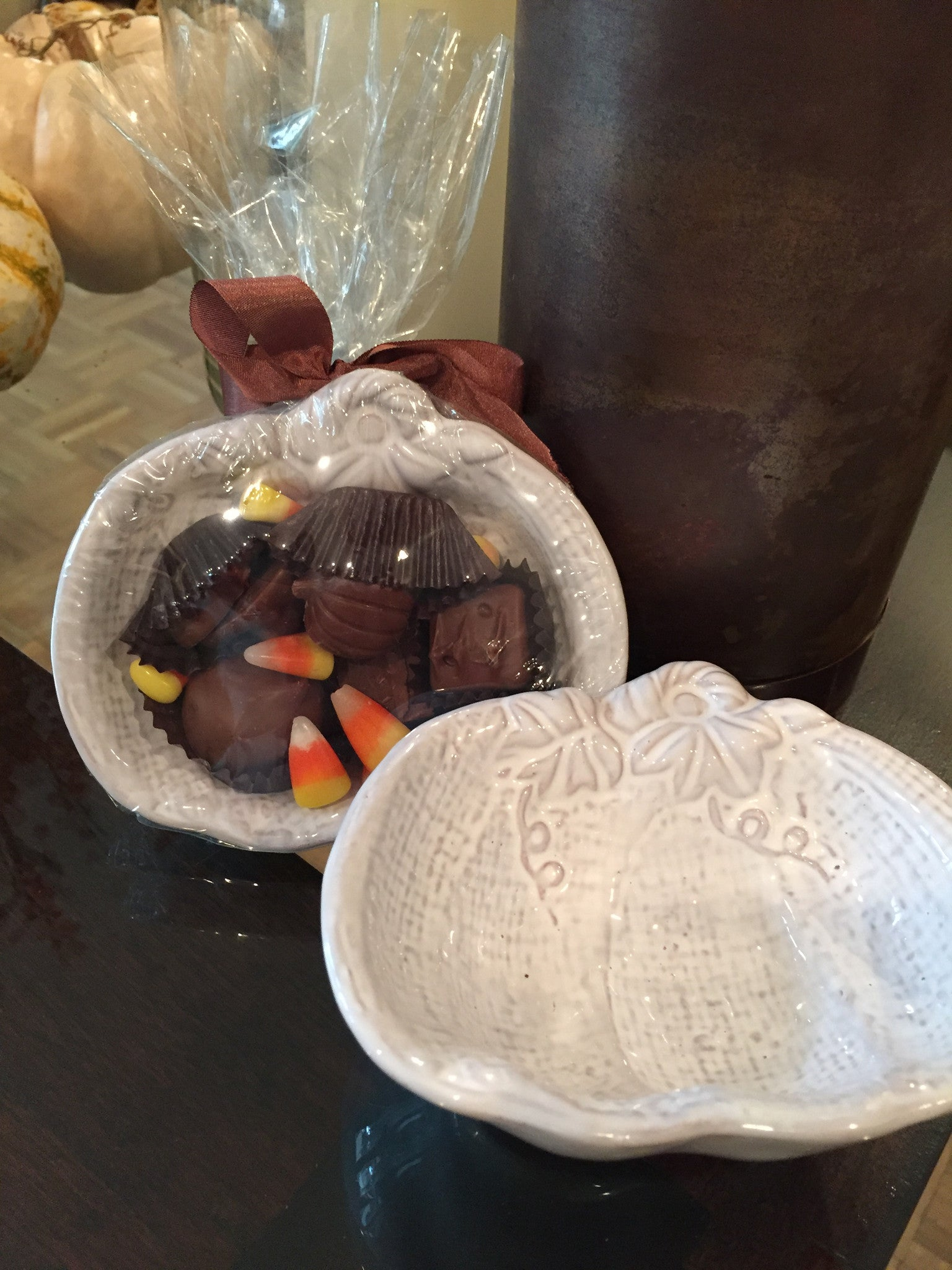 Pumpkin Candy Dish with 5 pieces of Assorted Chocolates