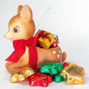Little Reindeer Ornament with Foil Wrapped Chocolates