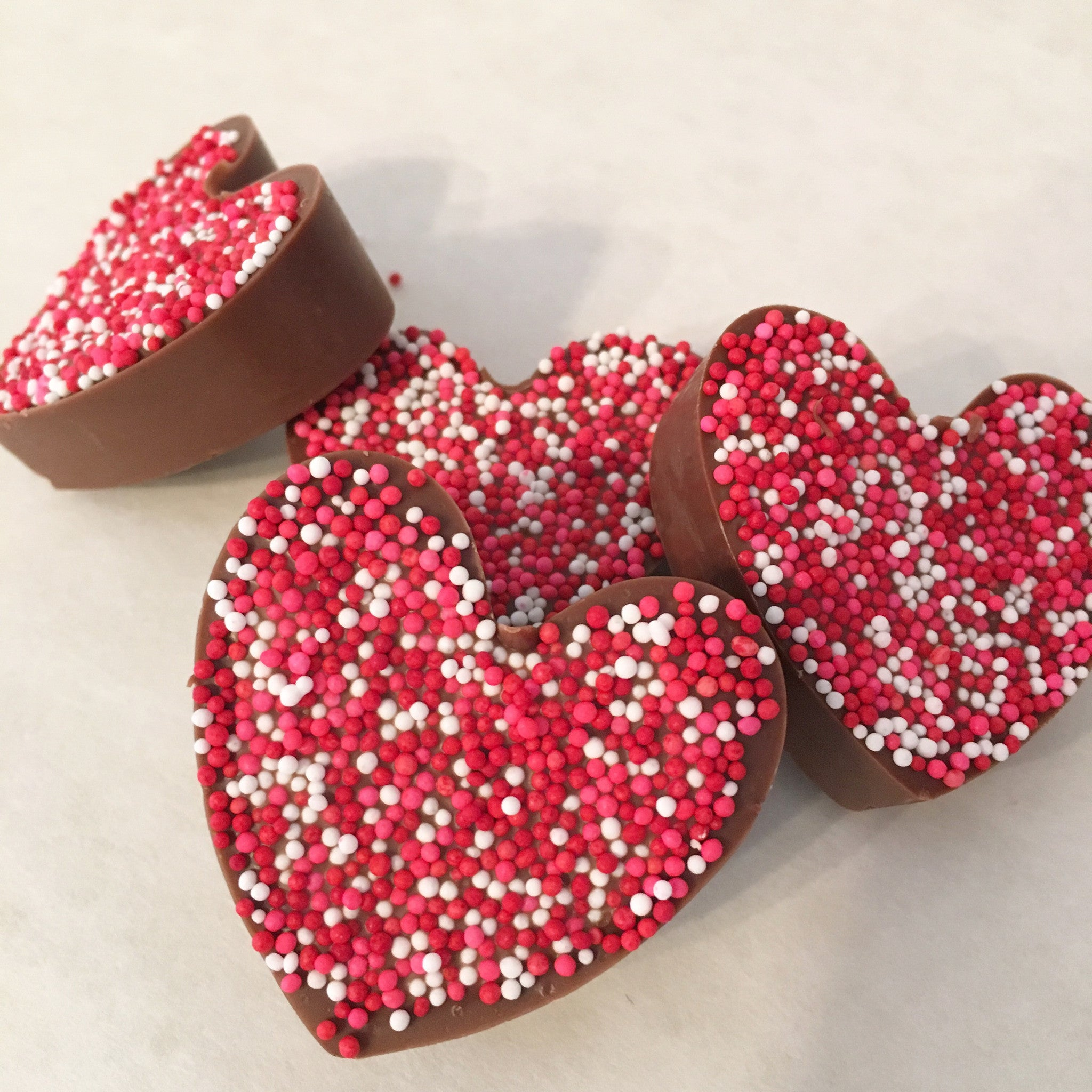 Non-Pareils Chocolate hearts