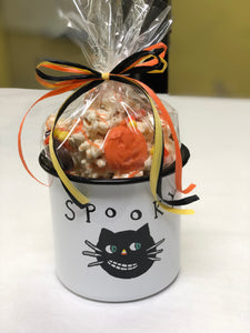 Halloween Bucket With White Chocolate Popcorn