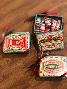 Tin Holiday Boxes filled with Foil Wrapped Milk Chocolates