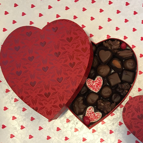 1/2 lb. Red Embossed Heart Box