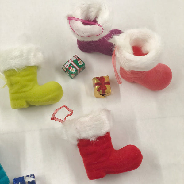 Flocked Santa Boot filled with Foil Wrapped