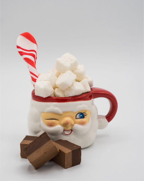 Santa mugs with foil wrapped milk chocolate