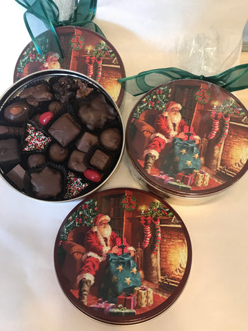 Santa Tin filled with 1lb. Assorted Chocolates