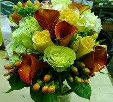 Roses, callas and hydrangea bouquet