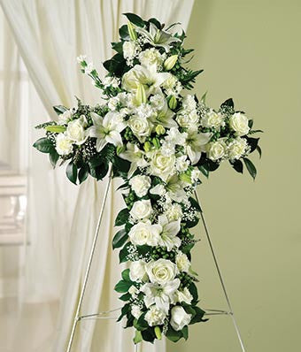 Cross with Mixed White Blooms