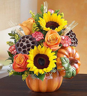 Fall Pumpkin and posies