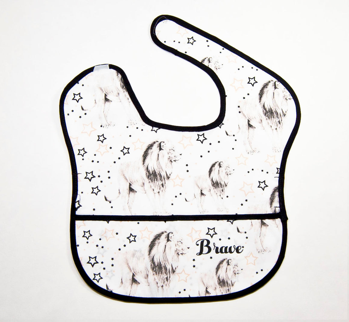 Baby Water Resistant Cotton Bib - Brave