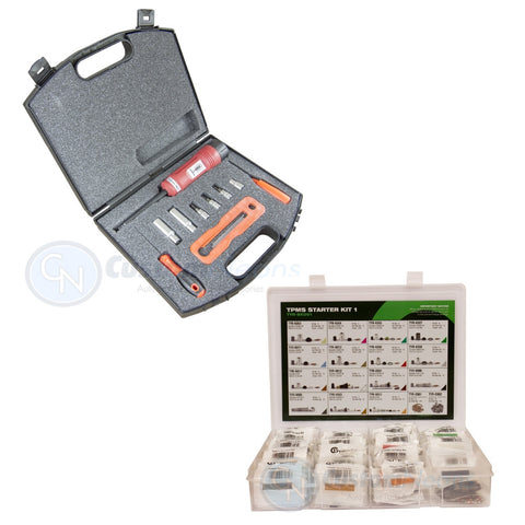 Complete TPMS Sensor Starter Repair Kit for Garages Including Tool and Valve Set