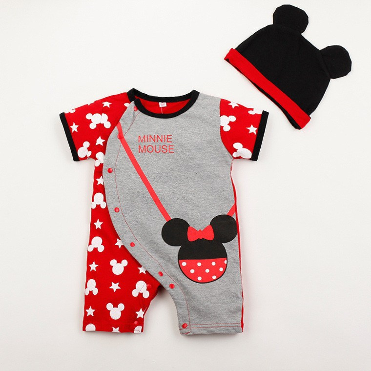 b71b19d93d0a ... Baby Rompers - Mickey And Minnie Mouse Romper + Hat