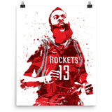 James Harden Houston Rockets Scream Poster - PixArtsy