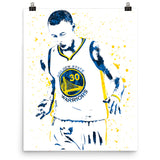 Stephen Curry Golden State Warriors Basketball White Jersey Poster - PixArtsy