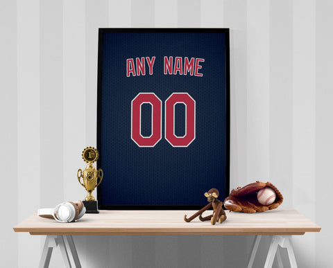 Cleveland Indians Jersey Poster - Print Personalized Select ANY Name & ANY Number - PixArtsy