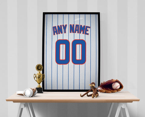 Chicago Cubs Jersey Poster - Print Personalized Select ANY Name & ANY Number - PixArtsy - 1