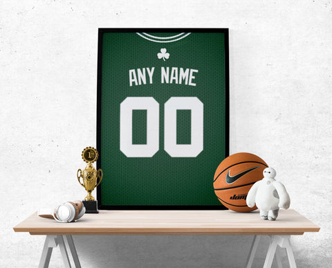 Boston Celtics Jersey Poster - Print Personalized Select ANY Name & ANY Number - PixArtsy