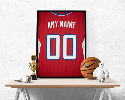 Los Angeles Clippers Jersey Poster - Print Personalized Select ANY Name & ANY Number - PixArtsy