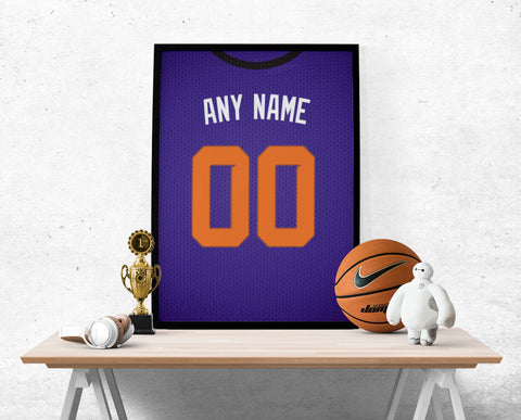 Phoenix Suns Jersey Poster - Print Personalized Select ANY Name & ANY Number - PixArtsy
