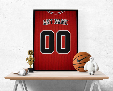 Chicago Bulls Jersey Poster - Print Personalized Select ANY Name & ANY Number - PixArtsy - 1
