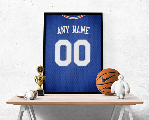 Philadelphia 76ers Jersey Poster - Print Personalized Select ANY Name & ANY Number - PixArtsy - 1