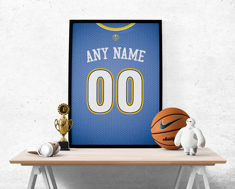 Denver Nuggets Jersey Poster - Print Personalized Select ANY Name & ANY Number - PixArtsy