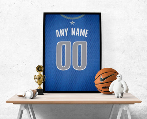 Dallas Mavericks Jersey Poster - Print Personalized Select ANY Name & ANY Number - PixArtsy - 1