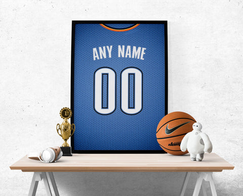 OKC Thunder Jersey Poster - Print Personalized Select ANY Name & ANY Number - PixArtsy