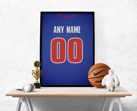 Detroit Pistons Jersey Poster - Print Personalized Select ANY Name & ANY Number - PixArtsy - 1
