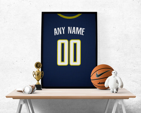Indiana Pacers Jersey Poster - Print Personalized Select ANY Name & ANY Number - PixArtsy