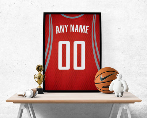 Houston Rockets Jersey Poster - Print Personalized Select ANY Name & ANY Number - PixArtsy