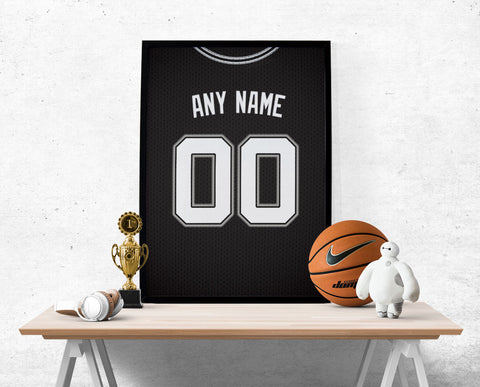 San Antonio Spurs Jersey Poster - Print Personalized Select ANY Name & ANY Number - PixArtsy