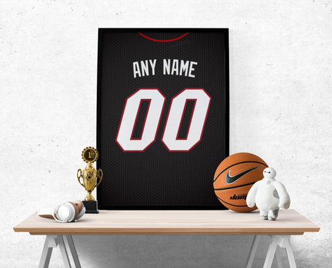 Miami Heat Jersey Poster - Print Personalized Select ANY Name & ANY Number - PixArtsy