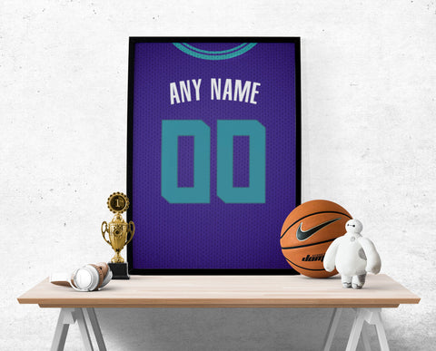 Charlotte Hornets Jersey Poster - Print Personalized Select ANY Name & ANY Number - PixArtsy
