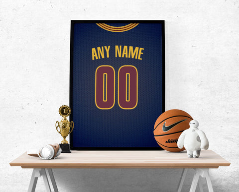 Cleveland Cavaliers Blue Jersey Poster - Print Personalized Select ANY Name & ANY Number - PixArtsy