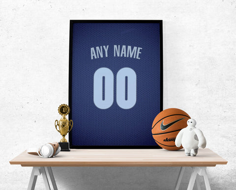 Memphis Grizzlies Jersey Poster - Print Personalized Select ANY Name & ANY Number - PixArtsy - 1